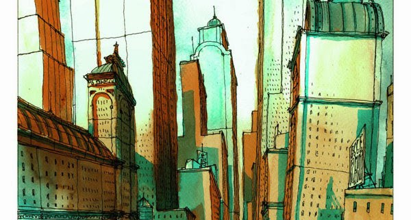 tekening aquarel stad
